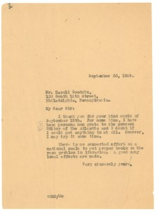 Thumbnail of Letter from W. E. B. Du Bois to Harold Goodwin