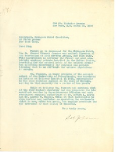 Thumbnail of Letter from D. Johnson to the Secretary of the Spingarn Medal Committee