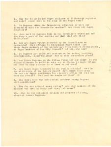 Thumbnail of Questionnaire on Pittsburgh African Americans and electoral politics