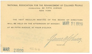 Thumbnail of Postcard from NAACP to W. E. B. Du Bois