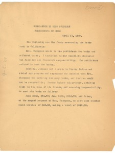 Thumbnail of Memorandum from W. E. B. Du Bois to Mary White Ovington