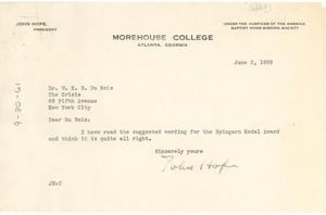 Thumbnail of Letter from John Hope to W. E. B. Du Bois