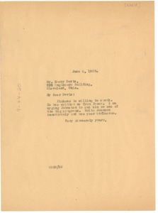 Thumbnail of Letter from W. E. B. Du Bois to Harry Davis