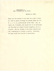 Thumbnail of Memorandum from W. E. B. Du Bois to Mary White Ovington and Walter Francis White