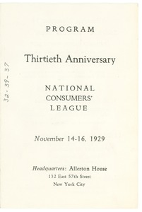 Thumbnail of National Consumers' League thirtieth anniversary luncheon program