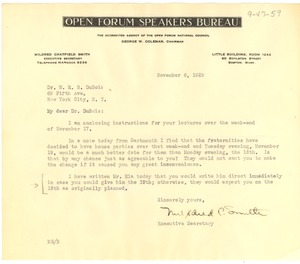 Thumbnail of Letter from Open Forum Speakers Bureau to W. E. B. Du Bois