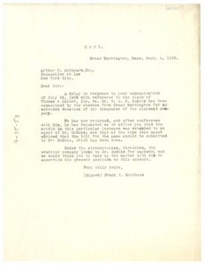 Thumbnail of Letter from Mr. Frank J. Brothers to Arthur B. Spingarn