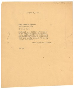 Thumbnail of Letter from W. E. B. Du Bois to United States Post Office