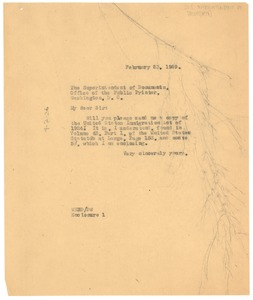 Thumbnail of Letter from W. E. B. Du Bois to Government Printing Office
