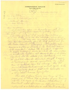 Thumbnail of Letter from Harmon Unthank to Mr. I. E. Peters