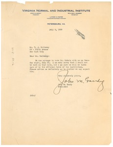 Thumbnail of Letter from Virginia Normal and Industrial Institute to T. J. Calloway