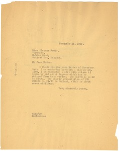 Thumbnail of Letter from W. E. B. Du Bois to Eleanor Woods