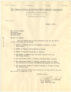 Thumbnail of Letter from National Council of the Young Men's Christian Associations of the United States of America to W. E. B. Du Bois