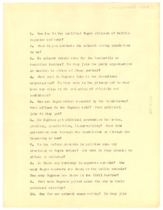 Thumbnail of Questionnaire Concerning the Political Conditions Among Colored People in             Buffalo