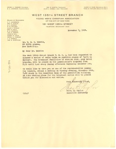 Thumbnail of Letter from Young Men's Christian Association of New York to W. E. B. Du Bois