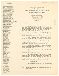 Thumbnail of Circular letter from The Sponsors' Committee for the Publication of The American             Aristotle to W. E. B. Du Bois