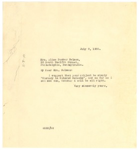 Thumbnail of Letter from W. E. B. Du Bois to The American Interracial Peace Committee