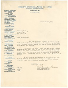 Thumbnail of Circular letter from The American Interracial Peace Committee to W. E. B. Du Bois