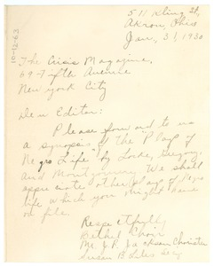 Thumbnail of Letter from The Bethel Choir of Akron, Ohio to the editor of The Crisis