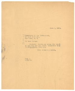 Thumbnail of Letter from W. E. B. Du Bois to The Civic Club