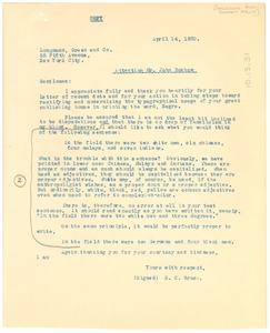 Thumbnail of Letter from the Dunbar News to Longmans, Green, and Company