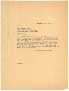 Thumbnail of Letter from W. E. B. Du Bois to Emmett Jones
