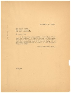 Thumbnail of Letter from W. E. B. Du Bois to Harry Jones