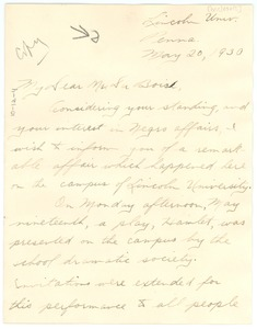 Thumbnail of Letter from unidentified correspondent to W. E. B. Du Bois