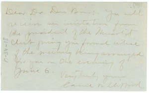 Thumbnail of Letter from the Mu-So-Lit Club to W. E. B. Du Bois