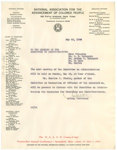 Thumbnail of Letter from Walter White to the Members of the Committee on Administration
