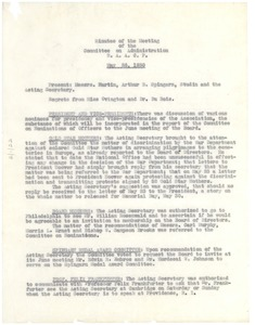 Thumbnail of NAACP Minutes of the Meeting of the Committee on Administration