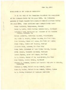 Thumbnail of Memorandum from W. E. B. Du Bois to the Spingarn Committee