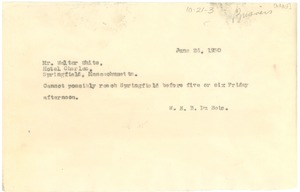 Thumbnail of Telegram from W. E. B. Du Bois to Walter White