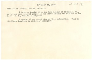 Thumbnail of Memorandum from Robert Bagnall to W. E. B. Du Bois