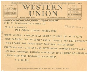 Thumbnail of Telegram from the N.A.A.C.P. Minneapolis Branch to W. E. B. Du Bois