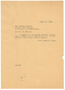 Thumbnail of Letter from W. E. B. Du Bois to the N.A.A.C.P. Philadelphia Branch