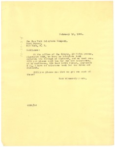 Thumbnail of Letter from W. E. B. Du Bois to the New York Telephone Company
