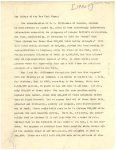 Thumbnail of Letter from W. E. B. Du Bois to the Editor of the New York Times