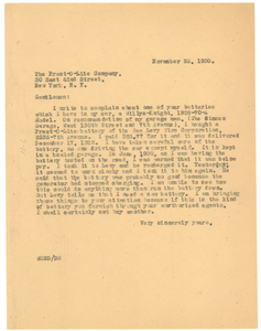 Letter from W. E. B. Du Bois to the Prest-O-Lite Company