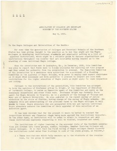 Thumbnail of Circular letter from The Association of Colleges and Secondary Schools of the             Southern States to The State Teachers College at Montgomery, Alabama
