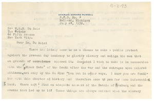Thumbnail of Letter from Charles Edward Russell to W. E. B. Du Bois