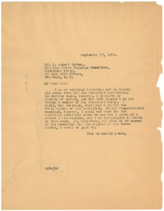 Thumbnail of Letter from W. E. B. Du Bois to The Socialist Party New York State Campaign             Committee