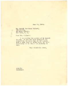 Thumbnail of Letter from W. E. B. Du Bois to Oswald Garrison Villard