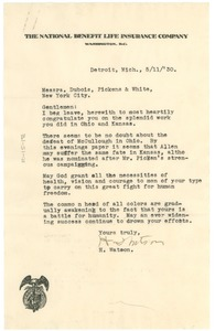 Thumbnail of Letter from H. Watson to W. E. B. Du Bois, William Pickens, and Walter White