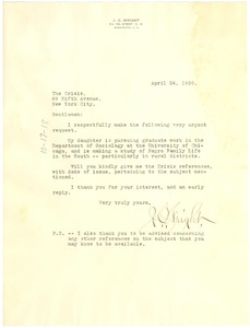 Thumbnail of Letter from James C. Wright to the Crisis