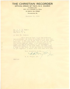 Thumbnail of Letter from R. R. Wright to W. E. B. Du Bois