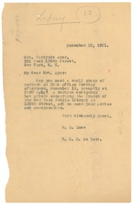 Thumbnail of Letter from W. E. B. Du Bois and W. L. Imes to Gertrude Ayer