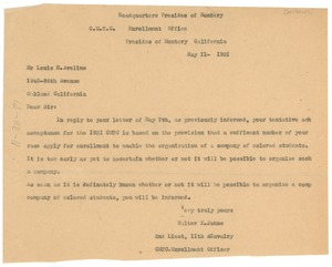 Thumbnail of Letter from U.S. War Dept. Citizens' Military Training Camps to Louis H.             Avelino