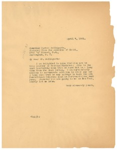 Thumbnail of Letter from W. E. B. Du Bois to Dantés Bellegarde