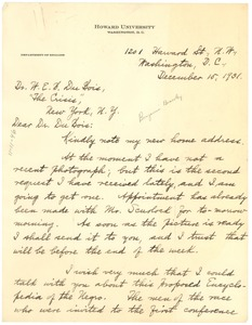 Thumbnail of Letter from Dan F. Bradley to W. E. B. Du Bois